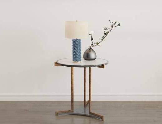 摆件组合, 圆几, 花瓶, 台灯, 现代