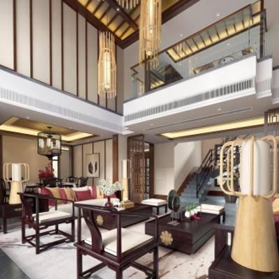 新中式别墅客厅, 新中式沙发茶几组合, 吊灯, 台灯, 新中式桌椅组合, 相框, 地毯, 新中式