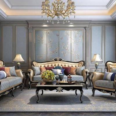 欧式, 金色, 皮质沙发, 沙发组合, 吊灯, 台灯