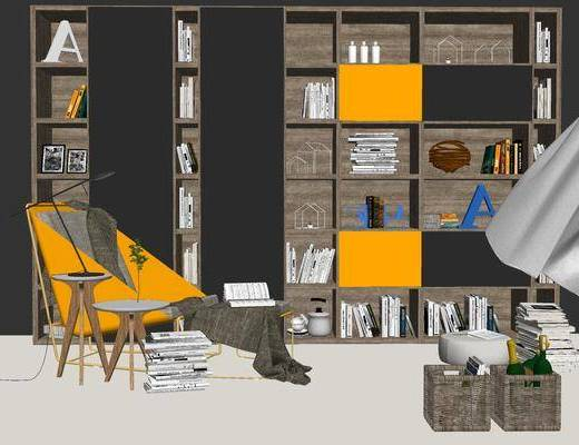 沙发组合, 单人沙发, 沙发脚踏, 书柜, 茶几, 现代