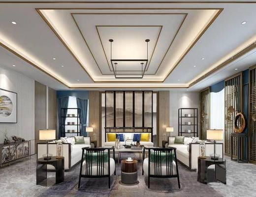 新中式客厅, 吊灯, 多人沙发, 边几, 台灯, 壁画, 茶几, 置物架, 新中式