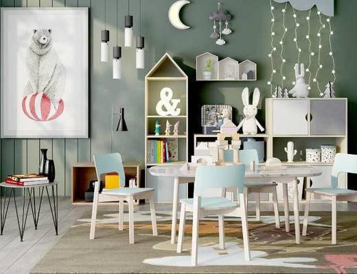 柜架组合, 桌子, 椅子, 边几, 吊灯, 壁画, 边柜, 置物架, 地毯, 玩具, 现代