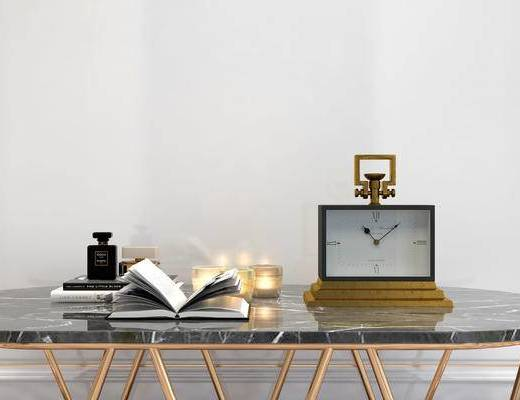 摆件组合, 桌子, 时钟, 简欧