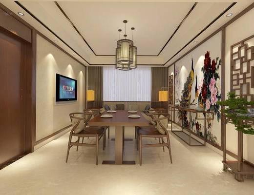 中式餐厅, 吊灯, 桌子, 椅子, 壁画, 落地灯, 边几, 双人沙发, 盆栽, 中式