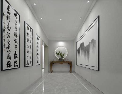 中式玄关走廊, 边几, 壁画, 中式