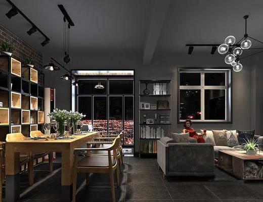 工业风客厅, 吊灯, 多人沙发, 桌子, 椅子, 置物柜, 茶几, 置物架, 工业风
