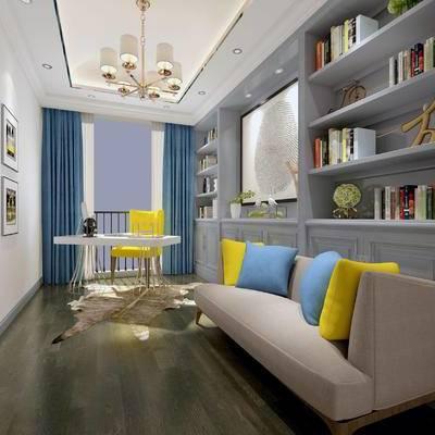 现代书房, 置物柜, 多人沙发, 壁画, 桌子, 椅子, 吊灯, 现代