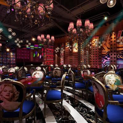 酒吧, 桌子, 椅子, 吊灯, 壁画, 现代