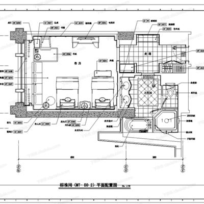 CAD, HBA, 工装, 酒店, 施工图, 平面图, 立面图