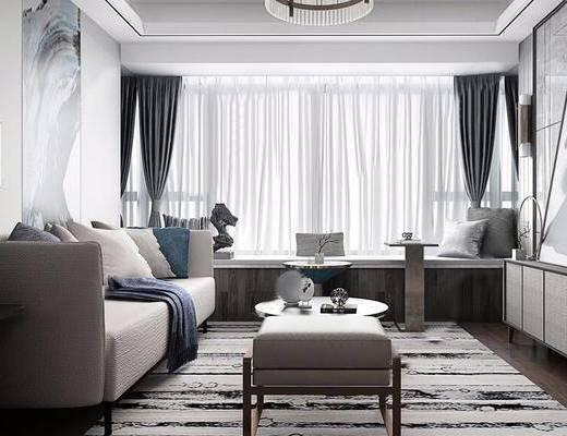 现代, 客厅, 沙发, 茶几, 装饰画, 窗帘, 陈设品, 壁灯