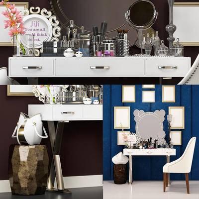欧式, 梳妆台, 椅子, 桌子, 桌椅组合, 墙饰