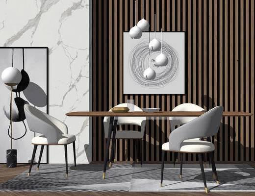 桌椅组合, 餐桌, 椅子, 现代, 吊灯, 挂画