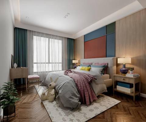 北欧卧室, 双人床, 床头柜, 台灯, 桌子, 凳子, 玩具, 壁画, 北欧