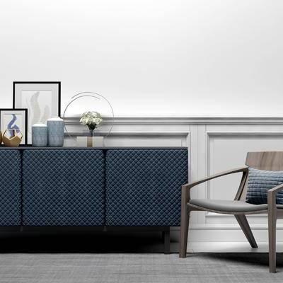 边柜, 相框, 椅子, 现代