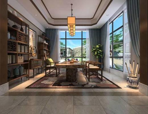 茶室, 吊灯, 桌子, 椅子, 壁画, 置物柜, 盆栽, 地毯, 中式