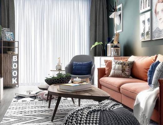 北欧客厅, 壁画, 电视柜, 多人沙发, 茶几, 椅子, 置物柜, 北欧