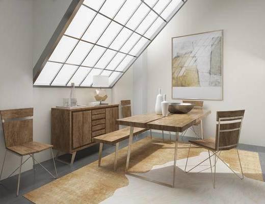 北欧餐厅, 桌子, 椅子, 壁画, 边柜, 北欧