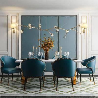 桌椅组合, 吊灯, 桌子, 椅子, 花瓶, 简欧