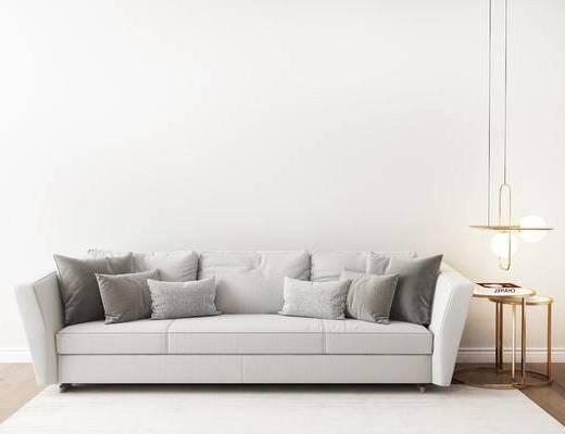 沙发组合, 多人沙发, 圆几, 吊灯, 现代