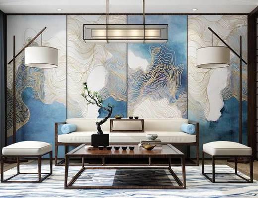 沙发组合, 多人沙发, 茶几, 落地灯, 吊灯, 壁画, 盆栽, 新中式