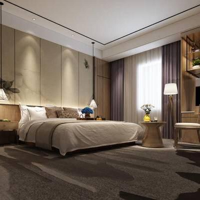 现代卧室, 双人床, 床头柜, 吊灯, 落地灯, 壁画, 边几, 椅子, 置物柜, 现代