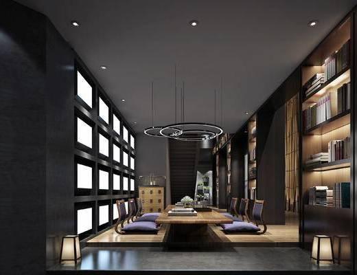 会客区, 吊灯, 桌子, 置物柜, 落地灯, 盆栽, 边柜, 现代