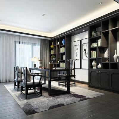 新中式书房, 桌子, 椅子, 置物柜, 台灯, 地毯, 新中式