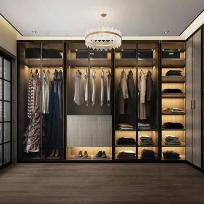 衣帽间, 现代, 衣服, 衣柜, 吊灯