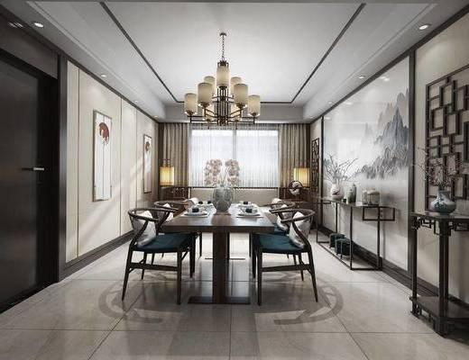 中式餐厅, 吊灯, 桌子, 椅子, 壁画, 中式沙发, 落地灯, 边几, 中式