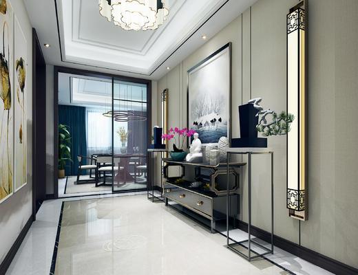 玄关走廊, 壁画, 边柜, 壁灯, 吊灯, 边几, 椅子, 中式