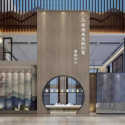 新中式, 售楼处, 楼盘模型, 植物, 假山, 门头, 1000套空间酷赠送模型
