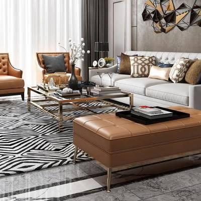 后现代, 客厅, 沙发茶几组合, 陈设品组合, 台灯
