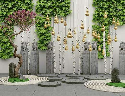 新中式, 植物, 假山, 葫芦装饰, 摆件