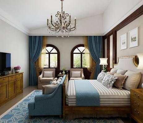 美式, 卧室, 床, 吊灯, 台灯, 挂画, 电视柜, 沙发, 床头柜