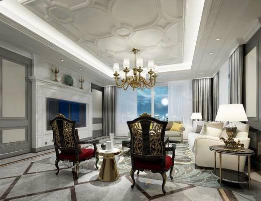欧式客厅, 多人沙发, 边几, 茶几, 椅子, 吊灯, 台灯, 壁炉, 欧式