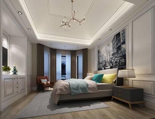 现代卧室, 双人床, 吊灯, 床头柜, 台灯, 壁画, 椅子, 置物柜, 现代