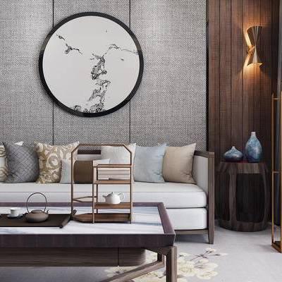 沙发组合, 新中式沙发, 壁画, 茶几, 壁灯, 落地灯, 新中式