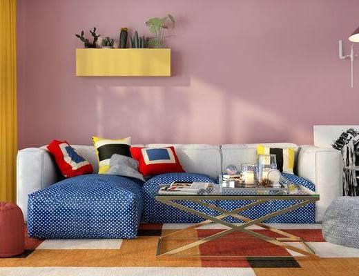 沙发组合, 多人沙发, 置物架, 壁灯, 茶几, 沙发凳, 装饰画, 地毯, 北欧