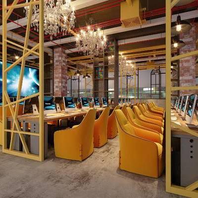 网吧, 吊灯, 桌子, 椅子, 电脑, 现代