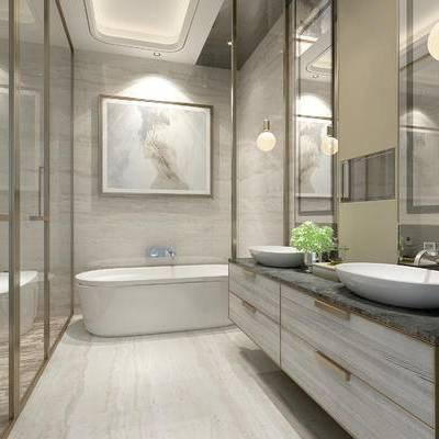 卫浴, 浴缸, 壁画, 洗手台, 镜子, 吊灯, 马桶, 现代