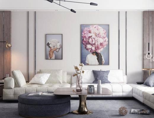 沙发组合, 多人沙发, 壁画, 茶几, 吊灯, 落地灯, 椅子, 现代