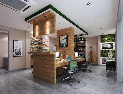 现代办公室, 桌子, 椅子, 置物柜, 边柜, 壁画, 现代