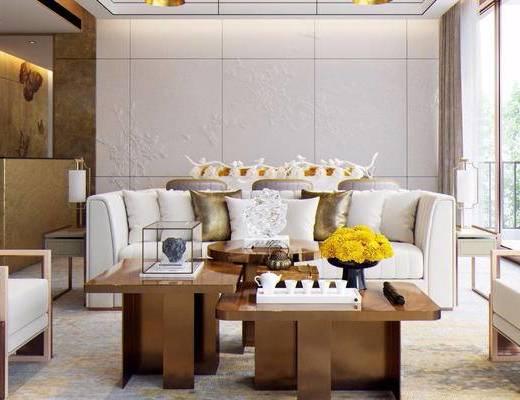 新中式, 客餐厅, 沙发茶几组合, 桌椅组合, 、