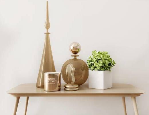 摆件组合, 盆栽, 桌子, 现代