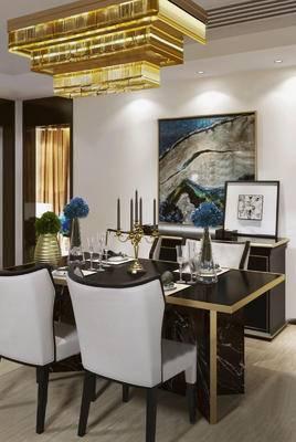 桌子, 椅子, 壁画, 花瓶, 酒杯, 吊灯, 后现代