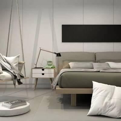 床具组合, 双人床, 边几, 现代