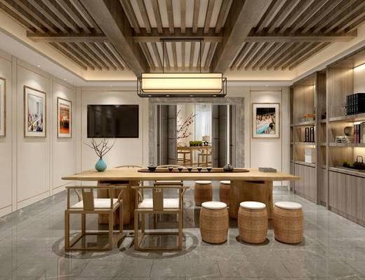 新中式茶室, 桌子, 凳子, 椅子, 壁画, 吊灯, 置物柜, 花瓶, 新中式
