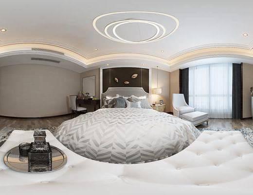 现代港式卧室, 双人床, 床尾塌, 吊灯, 床头柜, 单人沙发椅, 电视柜, 壁画, 现代梳妆台组合, 相框, 现代