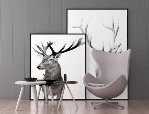 边几, 装饰画, 单椅, 现代