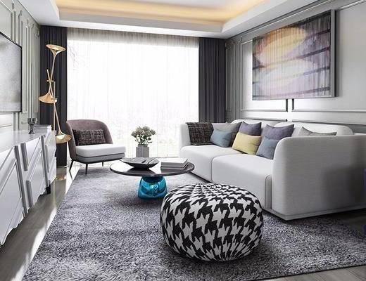 北欧客厅, 壁画, 多人沙发, 茶几, 沙发凳, 边柜, 椅子, 北欧